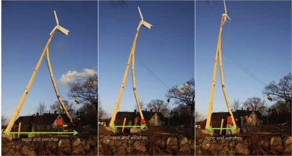 Installation Dali wooden tower for wind turbine